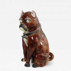 Large Majolica Pug Figure - 2064770