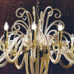 Large Mid Century Modern Style Twelve Arm Gold Murano Glass Chandelier - 1787156