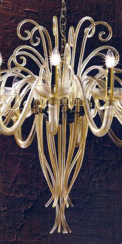 Large Mid Century Modern Style Twelve Arm Gold Murano Glass Chandelier - 1787163