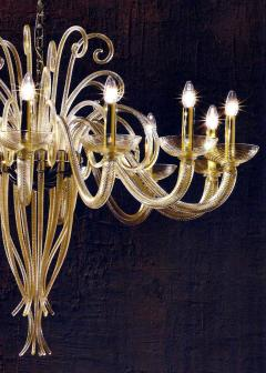 Large Mid Century Modern Style Twelve Arm Gold Murano Glass Chandelier - 1787174