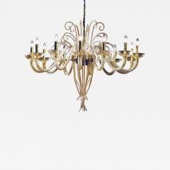 Large Mid Century Modern Style Twelve Arm Gold Murano Glass Chandelier - 1791310