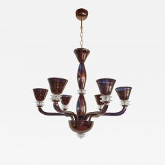 Large Mid Century Modern bronze color mirrored Murano glass 6 lights chandelier - 1071493
