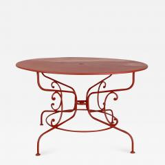 Large Mid Century Vintage French Red Garden Table - 1635930