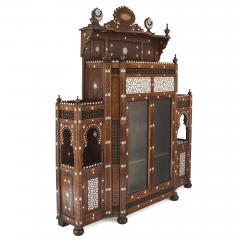 Large Moorish style mother of pearl inlaid display cabinet - 1459601
