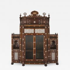 Large Moorish style mother of pearl inlaid display cabinet - 1461849