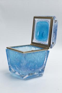 Large Murano Blown Acquamarine Chamfered Box Contemporary - 1192126