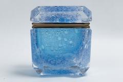 Large Murano Blown Acquamarine Chamfered Box Contemporary - 1192131