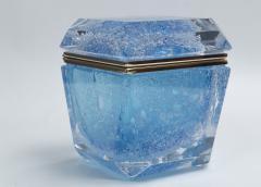 Large Murano Blown Acquamarine Chamfered Box Contemporary - 1192132