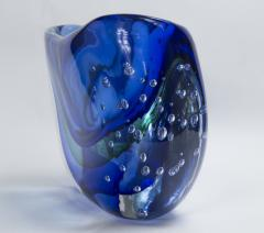 Large Murano Blown Blue Vase Contemporary - 1192059