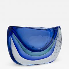 Large Murano Blown Blue Vase Contemporary - 1192359