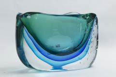 Large Murano Blown Turquoise Vase Contemporary - 1192046