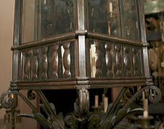 Large Neoclassic Bronze and Iron Lantern - 657401