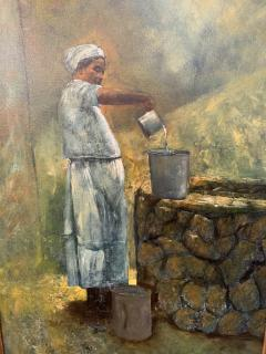 Large Oil on Canvas Figurative Painting of a Farmer Woman by a Well - 1647267