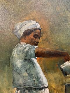 Large Oil on Canvas Figurative Painting of a Farmer Woman by a Well - 1647268