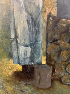 Large Oil on Canvas Figurative Painting of a Farmer Woman by a Well - 1647269