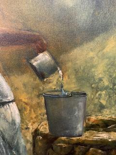 Large Oil on Canvas Figurative Painting of a Farmer Woman by a Well - 1647270