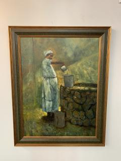 Large Oil on Canvas Figurative Painting of a Farmer Woman by a Well - 1647277
