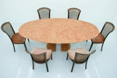 Large Oval Dining Table in Rosso Asagio marble Italy 1980s - 1903968