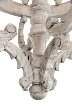 Large Painted Wooden Chandelier - 1466828