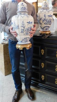 Large Pair of Dutch Delftware Blue White Glazed Ginger Jar Lamps - 1934590