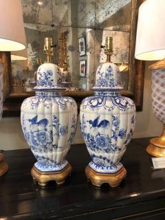 Large Pair of Dutch Delftware Blue White Glazed Ginger Jar Lamps - 1934592