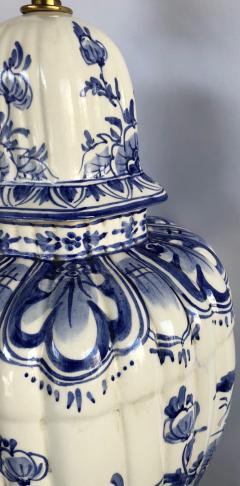 Large Pair of Dutch Delftware Blue White Glazed Ginger Jar Lamps - 1934595