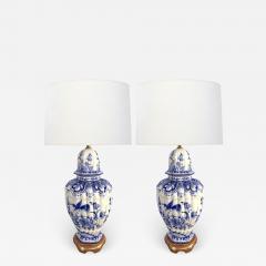 Large Pair of Dutch Delftware Blue White Glazed Ginger Jar Lamps - 1935045