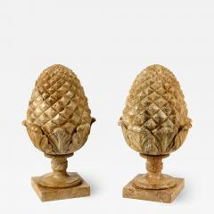 Large Pair of French Neoclassical Style Carved Buff Granite Pineapple Finials - 1637592