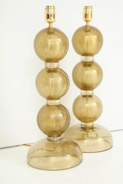 Large Pair of Gold Sphere Murano Glass Lamps Italy - 1607516
