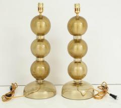 Large Pair of Gold Sphere Murano Glass Lamps Italy - 1607521