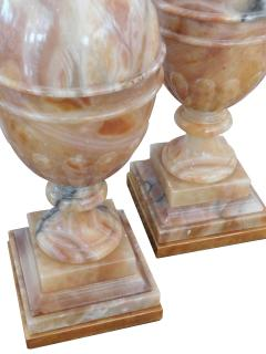 Large Pair of Italian 1950s Baluster form Carved Onyx Lamps - 1981310