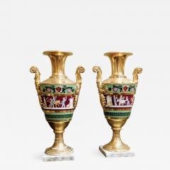 Large Pair of Old Paris Empire Porcelain Vases - 754944