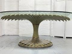 Large Palm Tree Style Oval Glass Top Dining Table - 2097588