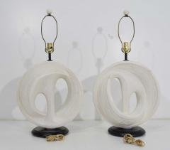 Large Plaster Organic Lamps in White 1950s - 1467107
