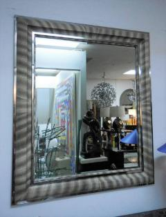 Large Python Snake Skin and Nickel Wall Mirror - 605160