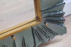 Large Rectangular Murano Sea Green Glass Framed Mirror - 1296404