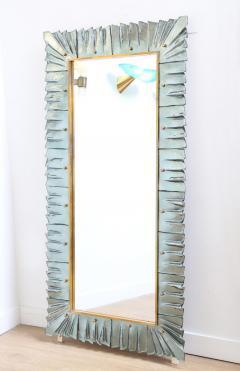 Large Rectangular Murano Sea Green Glass Framed Mirror - 1296405