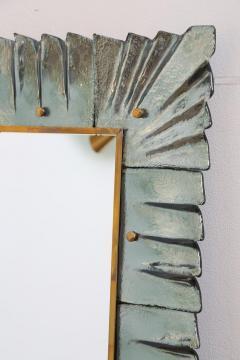 Large Rectangular Murano Sea Green Glass Framed Mirror - 1296407
