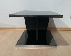 Large Restored Art Deco Sofa Table Black Lacquer and Metal France circa 1930 - 1889035