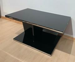 Large Restored Art Deco Sofa Table Black Lacquer and Metal France circa 1930 - 1903719