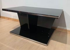 Large Restored Art Deco Sofa Table Black Lacquer and Metal France circa 1930 - 1903722
