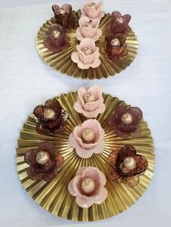Large Round Pleated Brass Murano Glass Flowers Sconces or Flush Mounts Italy - 2073514