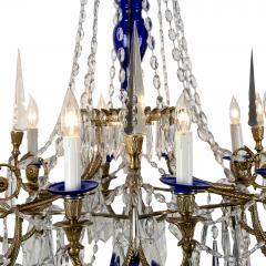 Large Russian Cobalt Blue NeoclassicalStyle Bronze Chandelier - 1846047