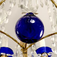 Large Russian Cobalt Blue NeoclassicalStyle Bronze Chandelier - 1846050