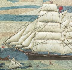 Large Sailors Woolwork of a British Merchant Navy Ship Coming into Port - 1728028