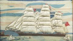 Large Sailors Woolwork of a British Merchant Navy Ship Coming into Port - 1728030