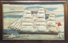 Large Sailors Woolwork of a British Merchant Navy Ship Coming into Port - 1728032