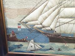 Large Sailors Woolwork of a British Merchant Navy Ship Coming into Port - 1728033