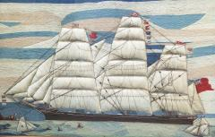 Large Sailors Woolwork of a British Merchant Navy Ship Coming into Port - 1728037