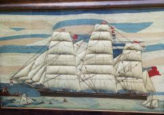 Large Sailors Woolwork of a British Merchant Navy Ship Coming into Port - 1728038